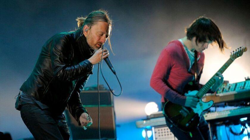 Radiohead's Thom Yorke and Jonny Greenwood perform at the 2014 Coachella festival.
