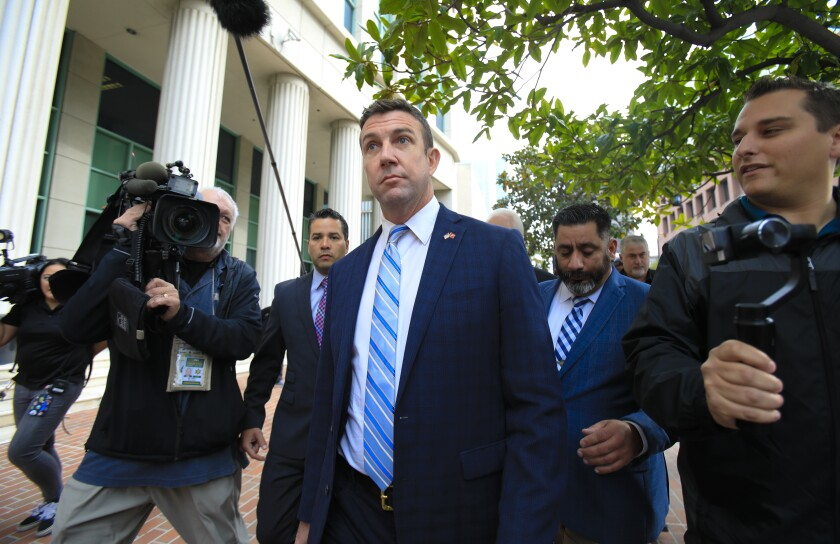 Congressman Duncan Hunter leaves San Diego federal court after entering a guilty plea in his federal campaign finance case Tuesday, Dec. 3, 2019.