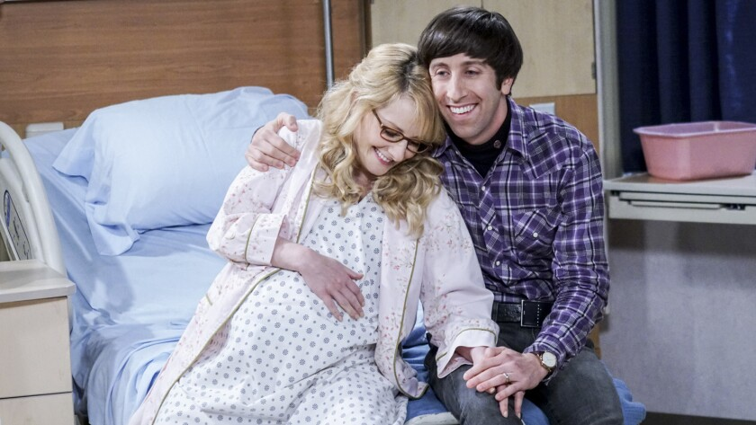 """Melissa Rauch and Simon Helberg in """"The Big Bang Theory"""" on CBS."""