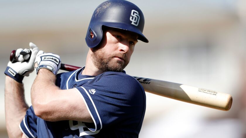The Padres' Chase Headley waits to bat during the third inning of a spring training baseball game against the Texas Rangers, Thursday, March 1, 2018, in Surprise, Ariz.