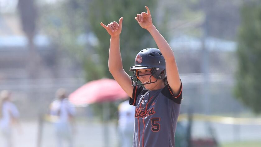 Huntington's Kelli Kufta signals a double to teammates after hitting a double against Amador Valley