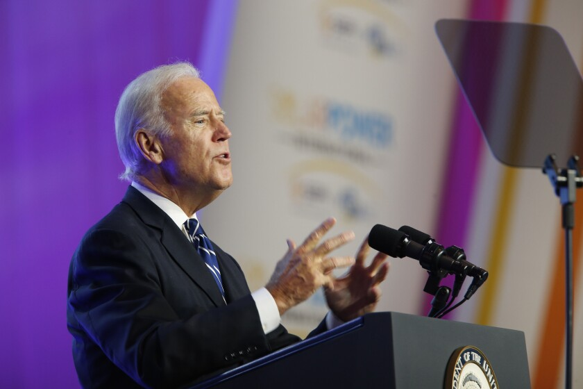 Joe Biden speaks at the Solar Power International Trade Show in Anaheim in this file photograph.