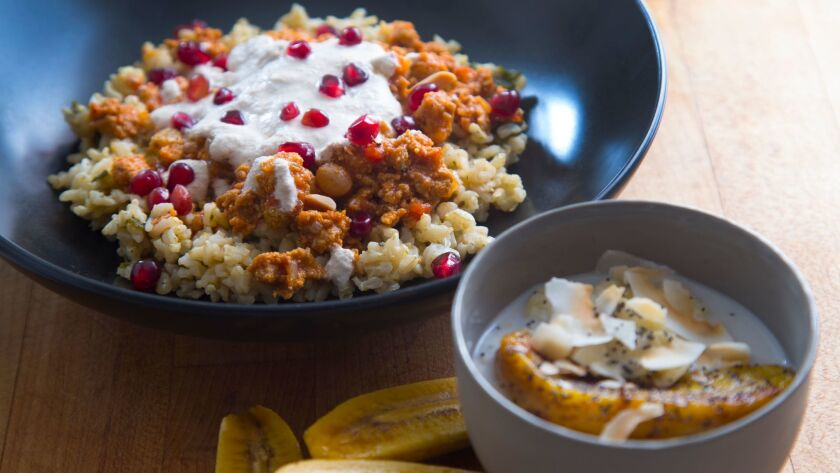 Two grain bowls created by Carolynn Carreño: Chile En Nogada Bowl With Turkey Picadillo and Walnut Crema, and Coconut Millet Porridge With Bananas and Poppy Seeds.
