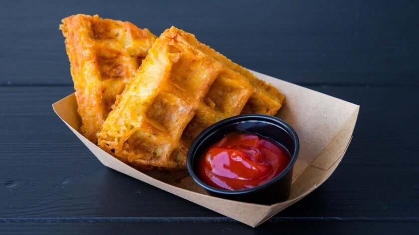 The potato waffles from Fritzi Coop are like giant hashbrowns cooked in the waffle iron.