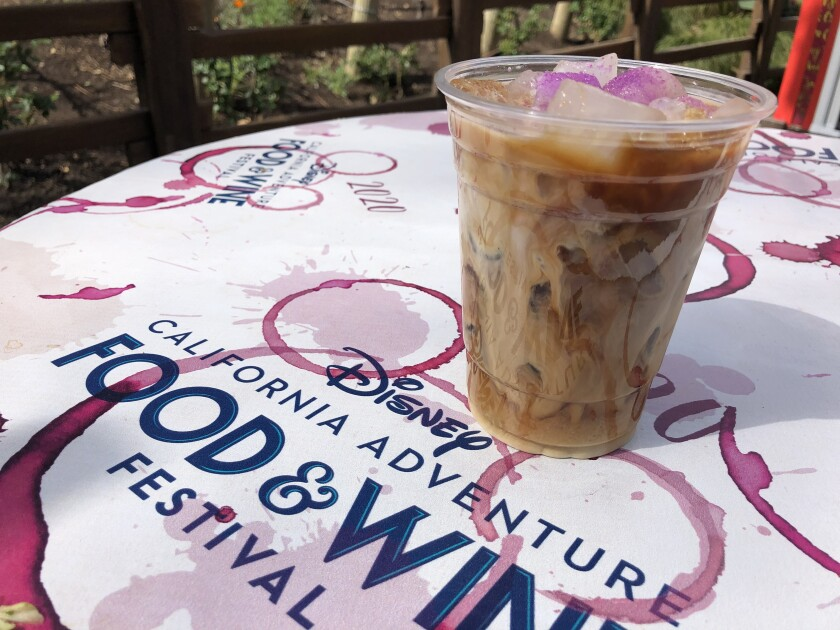 Fig and Lavender cold brew coffee at the Golden Dreams booth at the Disney California Adventure 2020 Food & Wine Festival.