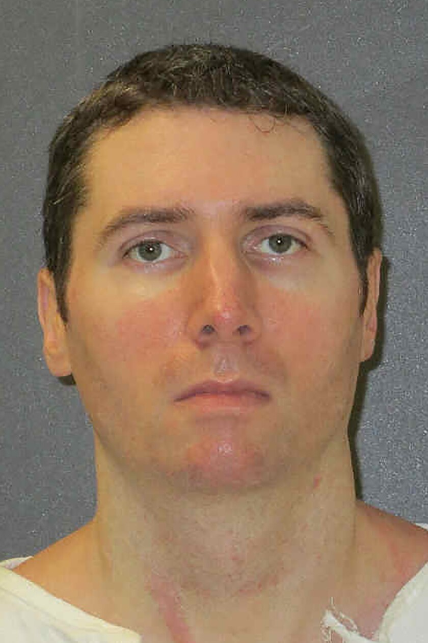 This undated photo provided by the Texas Department of Criminal Justice shows Justen Hall. The Texas inmate is set to be executed Wednesday evening, Nov. 6, 2019, for strangling 29-year-old Melanie Billhartz more than 17 years ago after he feared she would alert police about his meth lab operation in El Paso, Texas. (Texas Department of Criminal Justice via AP)