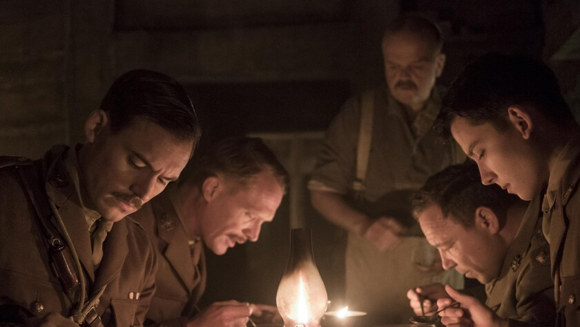 "Sam Claflin, from left, Asa Butterfield, Paul Bettany, Toby Jones and Stephen Graham in the movie ""Journey's End."""