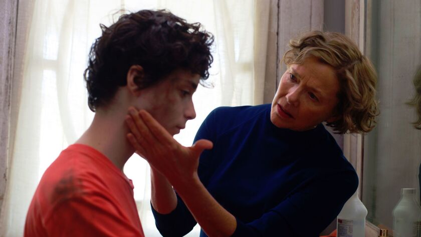 "Lucas Jade Zumann and Annette Bening in ""20th Century Women."""