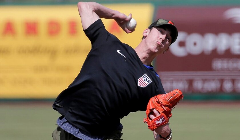 Former Cy Young Award winner Tim Lincecum throws for MLB baseball scouts on May 6 in Scottsdale, Ariz.
