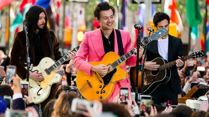 """Harry Styles, center, performs this week in New York for NBC's """"Today"""" show."""