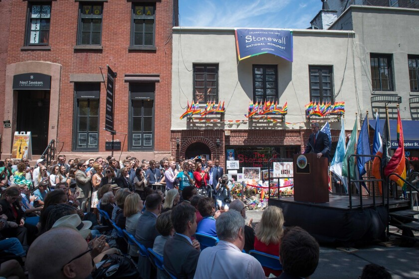 New York Mayor Bill de Blasio speaks at a ceremony to dedicate the Stonewall National Monument.