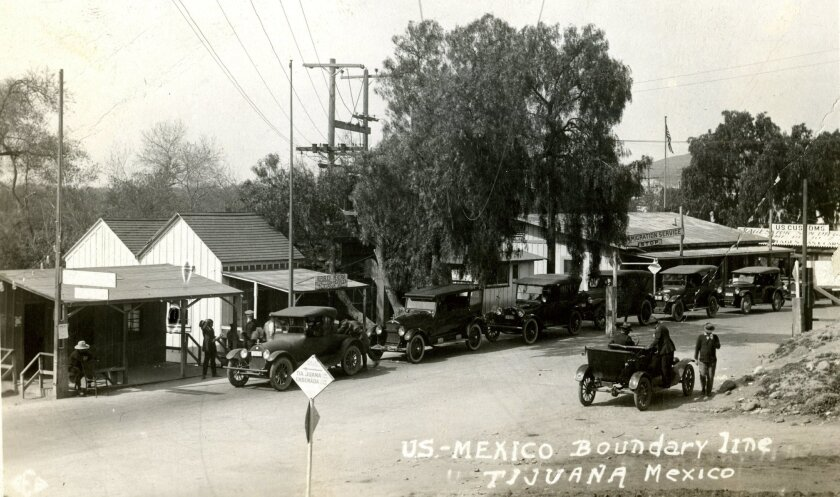 U.S.-Mexico Boundary line, Tijuana, Mexico circa 1922. (Image scanned from postcard in U-T photo archives.)