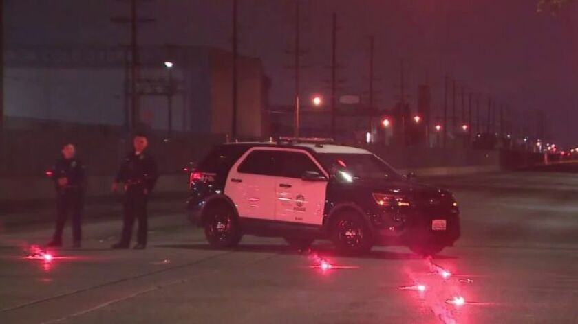 LAPD officer wounded in South L A  shooting after traffic stop - The
