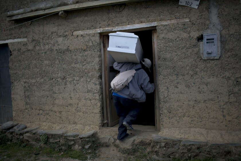 RESENDING FOR HIGHER QUALITY - In this Oct. 28, 2014 photo, Victor Crisostomo, carries the remains of his brother-in-law Nestor Curo Palomino into his home for a one day wake in Huallhua, in Peru's Ayahuanco region. The remains of Curo, who was in his 20s when he was killed defending the town with