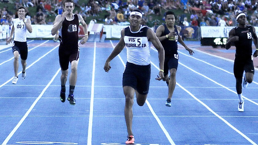 Vista Murrieta senior Michael Norman wins the 400-meter dash in 45.77 seconds to repeat as champion