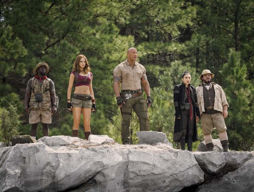 Kevin Hart, left, Karen Gillan, Dwayne Johnson, Awkwafina and Jack Black star in 'Jumanji: The Next Level'