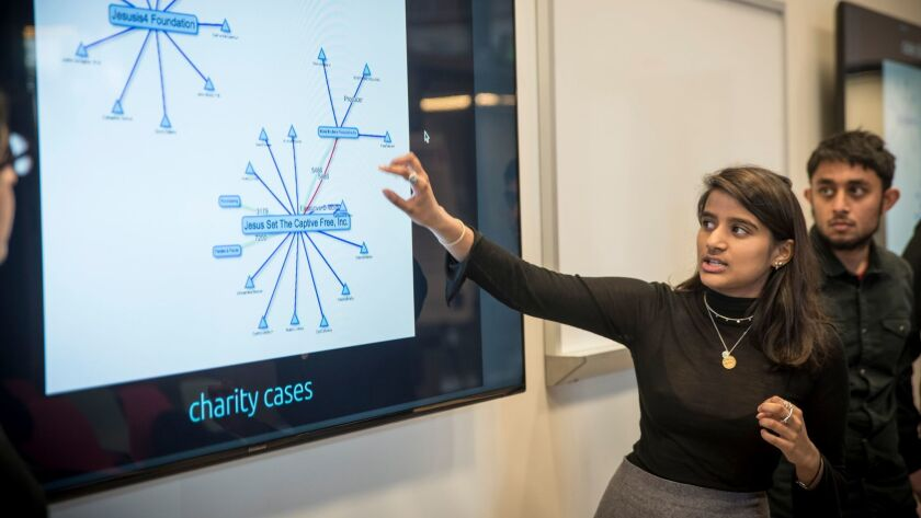 Student Anjali Banerjee gives a presentation at UC Berkeley as part of a class focused on finding technological solutions to combat international terrorism.