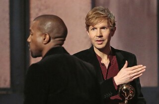 Kanye West storms Grammys stage, later blasts Beck's album of the year win