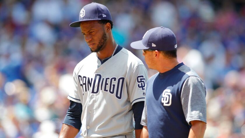 Jun 21, 2017; Chicago, IL, USA; San Diego Padres relief pitcher Miguel Diaz (43) walks off the field