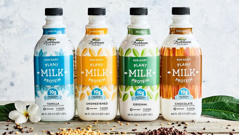 Pea protein in a series of unsweetened and sweetened milks Credit - Bolthouse