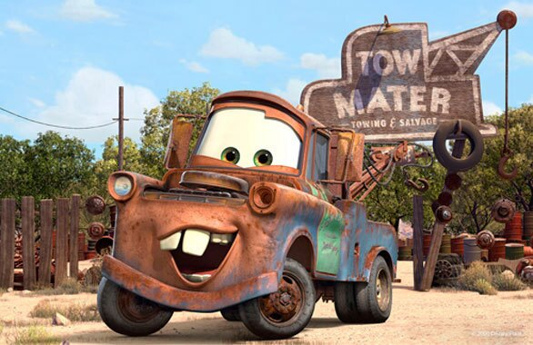 """Tow Mater, the rusty good ol' boy tow truck from the animated Disney/Pixar """"Cars"""" movies, serves as the host of Mater's Junkyard Jamboree at Disney California Adventure."""