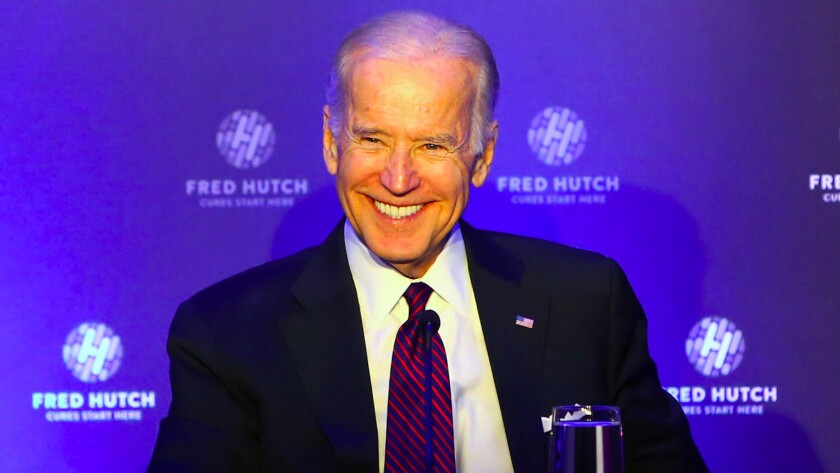 Vice President Joe Biden at a Seattle conference to encourage cancer research. He vowed in Thursday's debate not to postpone curing cancer or Alzheimer's.