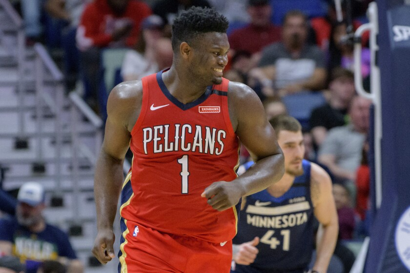 New Orleans Pelicans forward Zion Williamson smiles after a dunk March 3, 2020