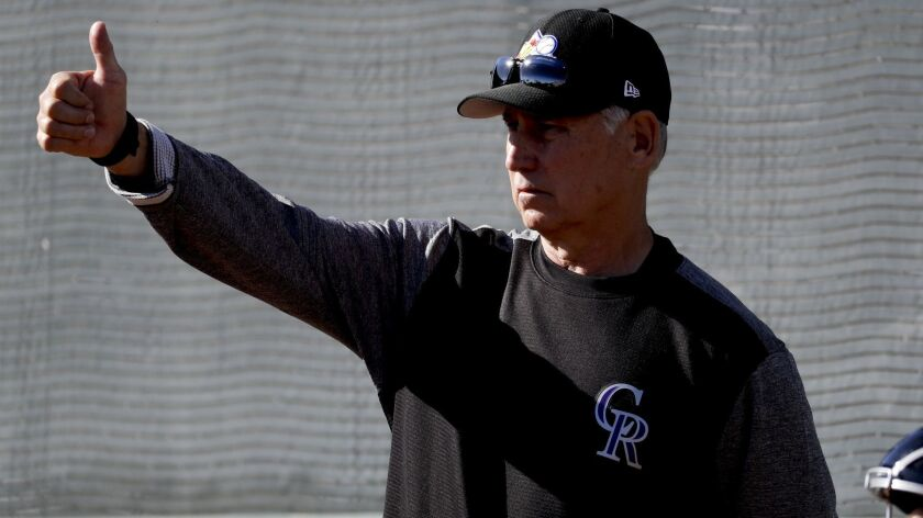 Rockies manager Bud Black gestures during bullpen practice at their spring baseball training facility in Scottsdale, Ariz., Saturday, Feb. 16, 2019.
