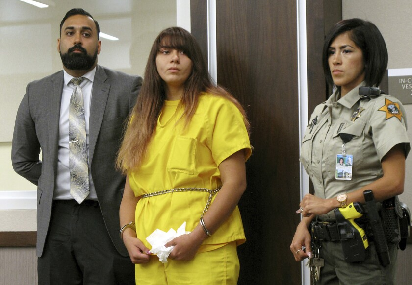 Obdulia Sanchez appears in Merced County Superior Court with her public defender, Ramnik Samrao, left, in 2017.