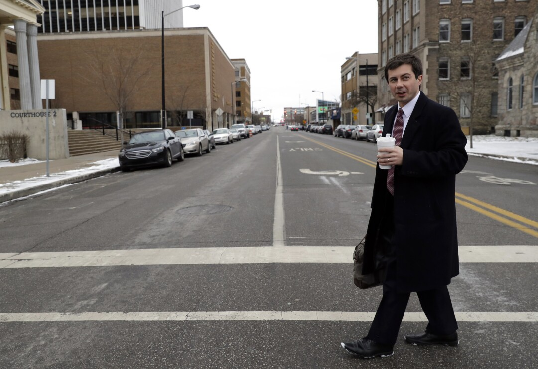 Then-Mayor Pete Buttigieg in downtown South Bend, Ind., in January 2019.