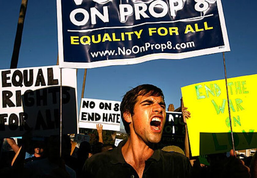 Matthew McKelligon of Los Angeles protests Proposition 8 in front of the Mormon temple in Westwood.