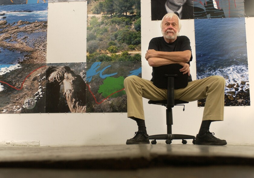 John Baldessari with some of his works at his Santa Monica studio in 2002.