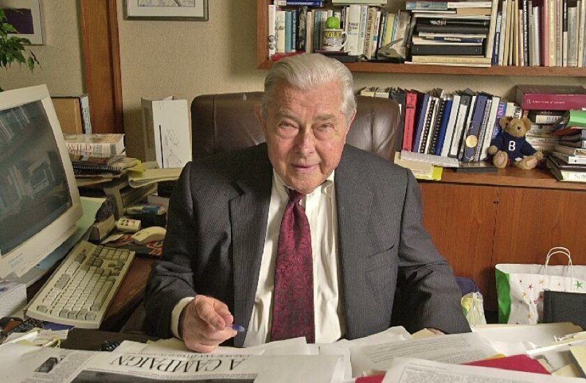 Herb Klein served as Copley Newspapers' editor in chief from his Mission Valley office for 23 years. (2003 file / Union-Tribune)