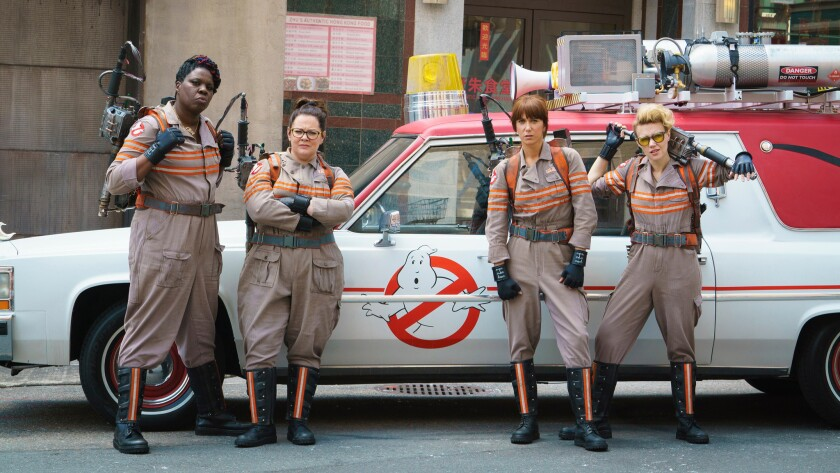 "Patty Tolan (Leslie Jones), Abby Yates (Melissa McCarthy), Erin Gilbert (Kristen Wiig) and Jillian Holtzmann (Kate McKinnon) in ""Ghostbusters."