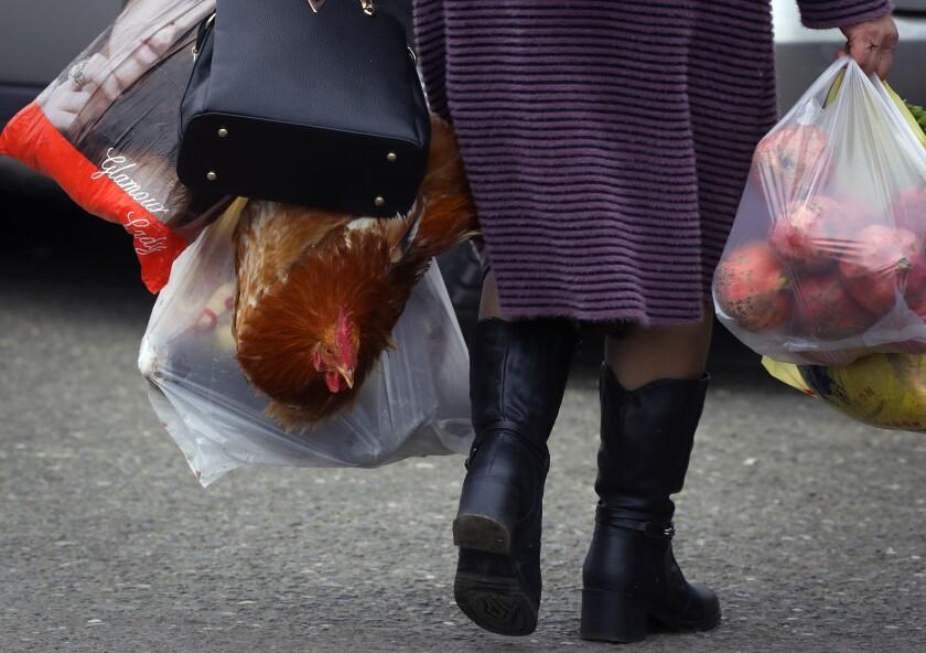 Una mujer regresa del mercado con sus bolsas en Stepanakert, capital de la región separatista de Nagorno-Karabaj, el sábado 21 de noviembre del 2020. (AP Photo/Sergei Grits)