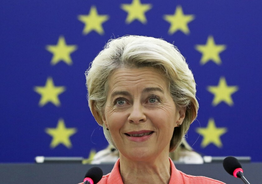 European Commission President Ursula von der Leyen delivers a State of the Union Address at the European Parliament in Strasbourg, France, Wednesday, Sept. 15, 2021. Stung by the swift collapse of the Afghan army and the chaotic U.S.-led evacuation through Kabul airport, the European Union on Wednesday unveiled new plans to develop its own defense capacities to try to ensure that it has more freedom to act in future crises. (Yves Herman, Pool via AP)