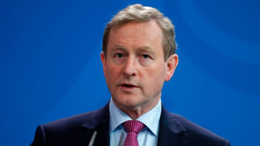 Irish Prime Minister Enda Kenny speaks during a news conference after a meeting at the Chancellery in Berlin this month.