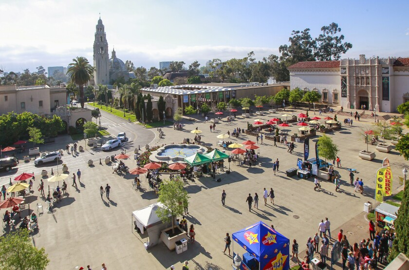 SAN DIEGO, CA April 19, 2019   Crowds enjoy the Plaza De Panama plaza at Balboa Park on Friday afternoon in San Diego, California.