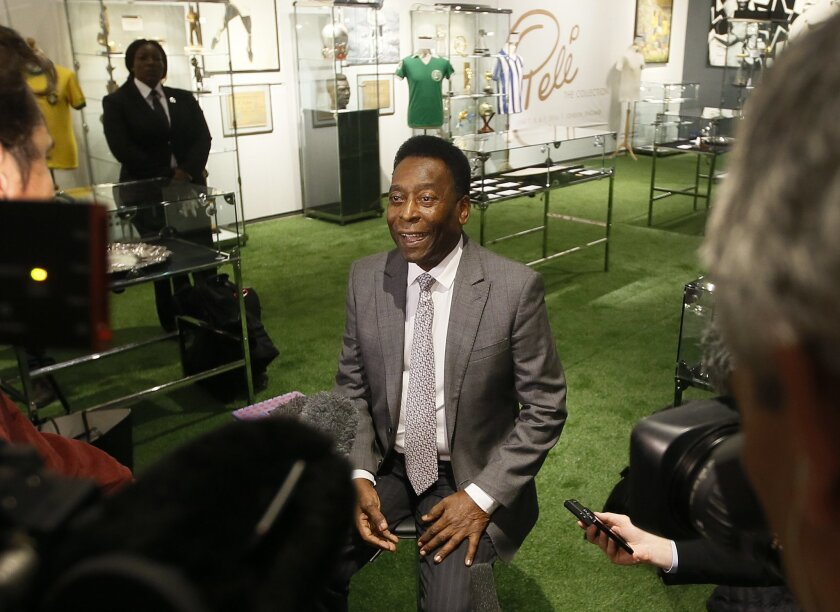 Pele,  former Brazilian soccer star is interviewed during a media opportunity in London, Wednesday, June 1, 2016. The three-time World Cup Champion, FIFA Player of the Century and Brazilian Football icon, will offer his vast collection of memorabilia, awards, personal property and iconic items from