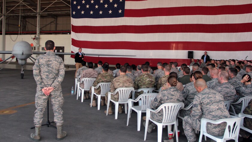 Defense Secretary Ash Carter addresses U.S. troops in Turkey in December 2015. Six months later, Carter would announce that transgender people would no longer be discharged or denied reenlistment in the military because of their gender identity.