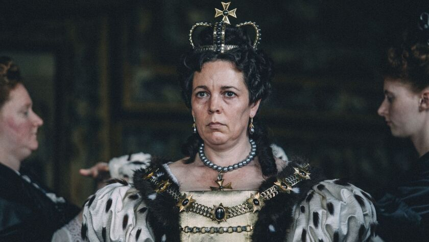 """Olivia Colman stars in """"The Favourite,"""" which received 10 Academy Award nominations earlier this week, including best picture. Coleman was nominated for best actress and co-stars Emma Stone and Rachel Weisz received best supporting actress nods. The Oscars air on Feb. 24."""