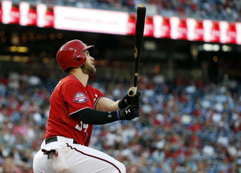 Washington Nationals' Bryce Harper watches his two-run homer during the seventh inning of a baseball game against the Miami Marlins at Nationals Park, Saturday, Sept. 19, 2015, in Washington. The Nationals won 5-2. (AP Photo/Alex Brandon)
