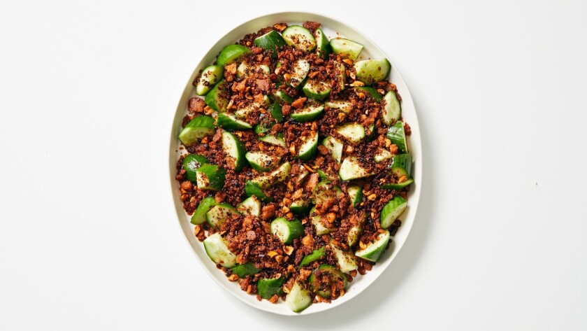 Butter cucumbers with chile crisp breadcrumbs