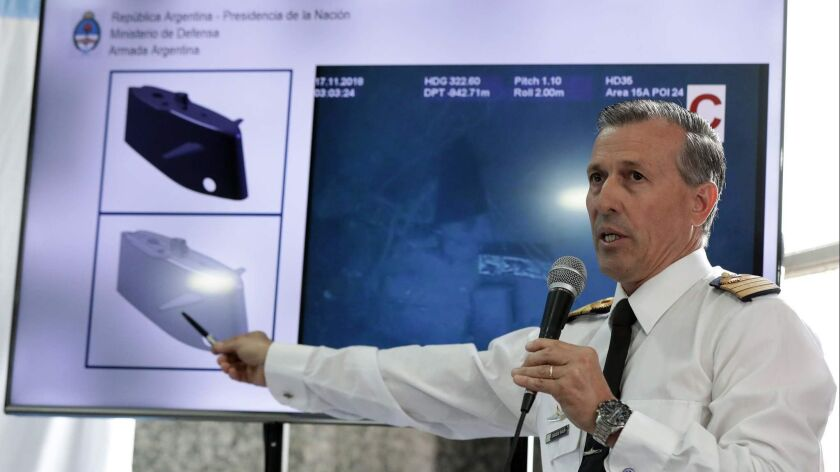 Argentine navy spokesman Enrique Balbis speaks during a Nov. 17 news conference in Buenos Aires regarding the finding of the wreckage of the ARA San Juan submarine.
