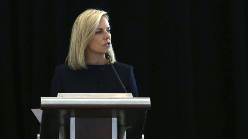 U.S. Department of Homeland Security Secretary Kirstjen Nielsen addresses a convention of state secr