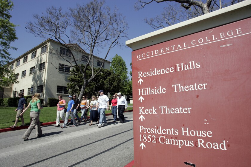 Students stroll the campus at Occidental College in Eagle Rock, north of downtown Los Angeles.