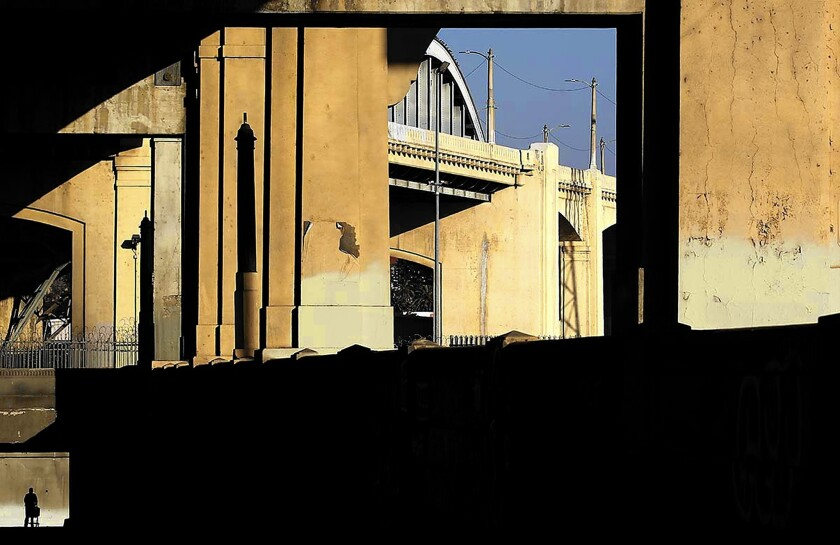 The 6th Street Bridge over the L.A. River; famed architect Frank Gehry has been working for about a year on a wide-ranging new plan for the river, with the focus on hydrology, not architectural landmarks.