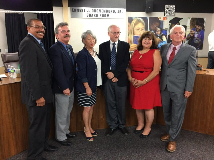 County Superintendent Randy Ward, left, with Board of Education members Mark Anderson, Guadalupe Gonzalez, Gregg Robinson, Alicia Munoz and Richard Shea.