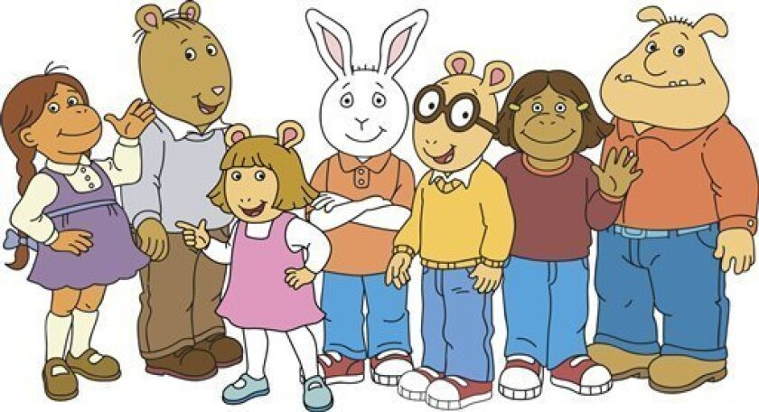 """This undated illustration provided by WGBH and Marc Brown studios shows the cast of """"Arthur,"""" from left, Muffy, The Brain, D.W., Buster, Arthur, Francine and Binky. Arthur, of book and PBS fame, and creator Marc Brown have tackled everything from blindness and dyslexia to head lice and peanut allergies among the gang in Elwood City, the small town where the man and and the aardvark first settled together in 1976."""