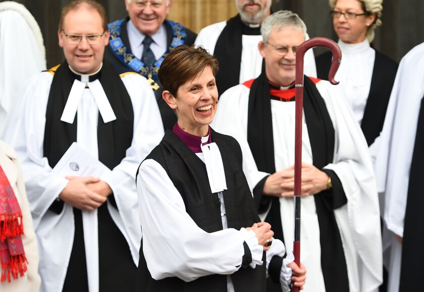 The Rev. Libby Lane leaves York Minster after being consecrated as the eighth Bishop of Stockport on Jan. 26 in York, England.